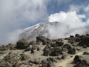 Climb Kilimanjaro, A view of Kilimanjaro's summit, from Barafu Camp, Kilimanjaro's base camp.