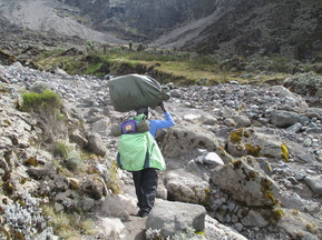 A Kilimanjaro porter, the heroes of every Kilimanjaro trek. Climb Kilimanjaro with Samba Treks.